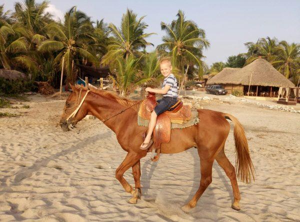 Прогулка на лошадях на пляже Zicatela