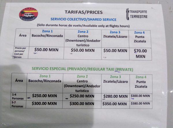 Стоимость такси из аэропорта Пуэрто Эскондидо
