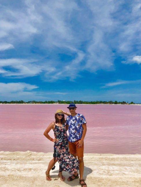Розовые озера из Канкуна